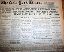 1933 NY Times newspaper THE AKRON DISASTER Largest loss of life in AIRSHIP CRASH