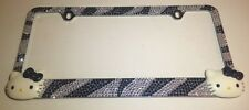 HELLO KITTY Crystals License Plate Frame Zebra Print Crystals Stainless Steel