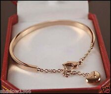 High Quality 14K Rose Gold Crystal Heart Charm Stainless Steel Bracelet Bangle