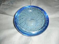 VINTAGE EMPOLI / MURANO Blue Glass Bowl con controllato BOLLE. pesanti.