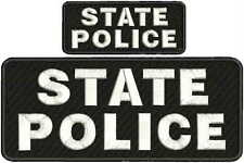 "state police embroidery patches 4 X 10"" and 2x5 hook  ON BACK  white letters"