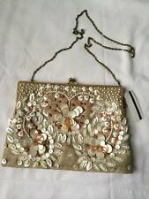 VTG NWT Moyna Floral / Harts Beaded Evening Clutch With Strap