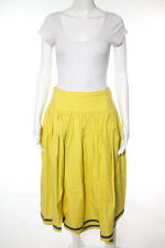 Valentino Boutique Yellow Gray Pleated Full Skirt Size 12