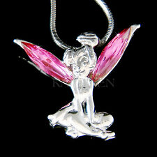 w Swarovski Crystal Hot Pink Fairy Tinkerbell Tinker Bell ANGEL Pendant Necklace