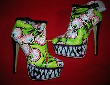 Iron Fist Timmy Chew Green Eyeball Fang Platform Bootie Boots Womens 9 Halloween