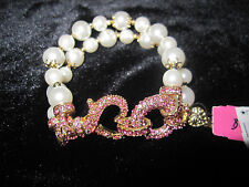 BETSEY JOHNSON ICONIC PINKALICIOUS PINK HEART AND 2 ROW PEARL  BRACELET