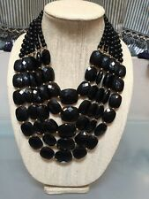 NWOT Multi Strand Black Beaded Bib Statement Necklace Anthropologie