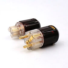 A pair Gold Plated C-079 IEC + P-079e Schuko Eu plug, For Audio Connector New