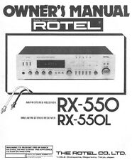 Rotel RX-550 Receiver Owners Manual