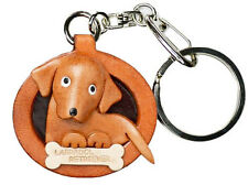 Labrador Retriever 3D Leather Dog plate Keychain *VANCA* handmade in Japan#26534