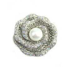 Luxury Shiny Silver White Pearl Rose Bridal Wedding Brooch Pin BR205