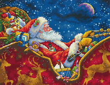 Cross Stitch Kit Gold Collection Santa's Midnight Ride Christmas Sled #70-08934