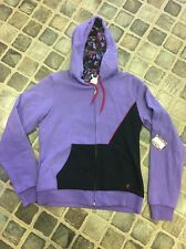 New Women's Volcom Stone Stamp Reversible Zip Fleece, Purple, Size Medium
