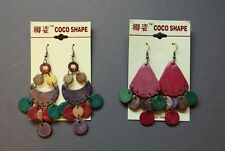 2 Pairs New Coconut Shell Boho Drop Chandelier Earrings