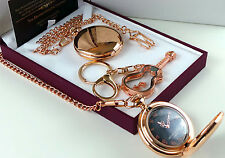 JIMI HENDRIX 18k Rose Gold Clad POCKET WATCH and GLASS GUITAR Keyring LUX CASE