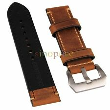 24mm Width Brown Genuine Leather Wristwatch Band Men Watch Strap Watchband