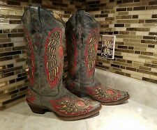CORRAL WOMENS LEATHER COWBOY BOOTS SIZE 8 1/2M *HEART & PEACE*