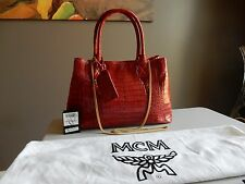 $6,735 NEW MCM Gold Line Limited Edition red crocodile tote shoulder bag RARE!!!