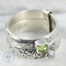 Vintage Sterling Silver   Peridot & Pearl Stacked Band Duo 6g   Ring (7.75)