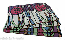 Mackintosh Set 4 Place Mats Iconic Pink Rose Floral Design Gift Pack Present NEW