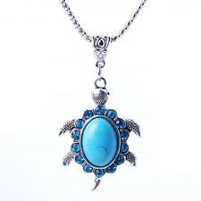 Cute turquoise blue turtle stone pendant rhinestone Tibet silver chain necklace
