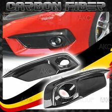 Glossy Real Carbon Fiber Fog Light Covers Trim For 2016-2017 Honda Civic Sedan