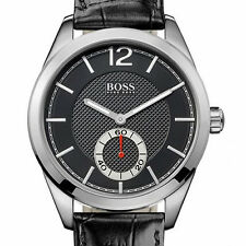 Hugo Boss 1512793 Mens Black Dial Leather Strap Silver Gents Watch RRP £199