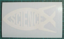 Science/ Darwin Fish x 2 Ichthys Vinyl White Sticker, Decal, Car Bumper, Window