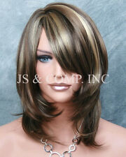 3 Tones Brown Blonde mix Silky Straight Bangs Wig JSDD 8/12/24