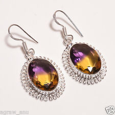 Faceted ametrine stones designer earrings pair .925 silver free shipping gift
