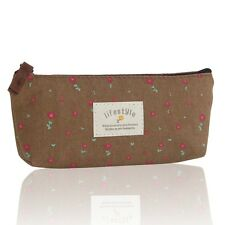 Cosmetic Makeup Bag Floral Canvas Double Zipper Pencil Case Coin Pouch Purses MM