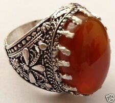 Silver Yemeni agate Men Ring, dark red, called in Arabic kabdi, عقيق أحمر كبدي