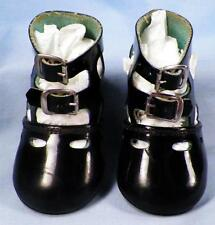 Childs Vintage Shoes Black Patent Leather Straps Girls 1930s Doll Infant Size 3