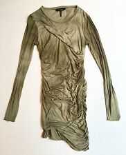 ISABEL MARANT Green Silk Ruched Jersey Dress Size FR 42