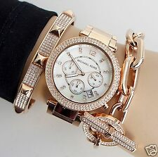 Michael Kors Orologio Casio mk5491 PARKER COLORE: ROSE GOLD STRASS NUOVO