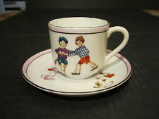 VTG  Noritake Childs Set  Children Playing Cup With Dogs Decorated Saucer Set
