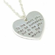 "TOC 2 Sided Worded Love Heart Necklace On an 16"" Chain Christmas Gift For Her !"