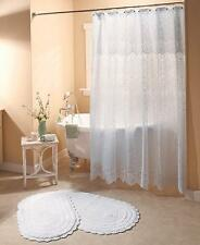 VINTAGE LOOK ELEGANT WHITE LACE SHOWER CURTAIN & LINER BATHROOM HOME DECOR