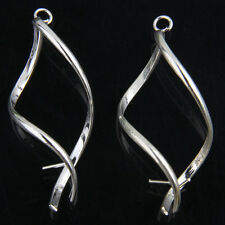 10Pcs Twisted Silver Plated Earrings Hooks Findings 43mm