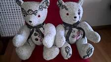 keepsake/memory teddy bears personalised with name dates embroidered on