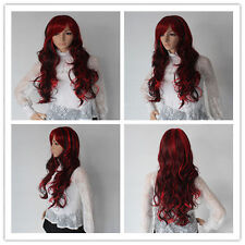 NEW Fashion Black Mix Red Wig Long Wavy Curly Hair Women Cosplay Full Wigs KP