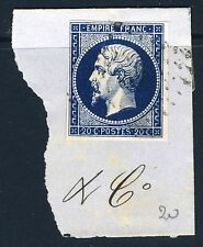 FRANCE 1854 2nd Empire Napoleon III IMPERFORATE Die I 20 Cents Blue SG 51 Y&T14A