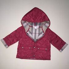 NEW AUTHENTIC BURBERRY PINK CHECK KIDS INFANT BABY GIRL COAT LIGHT JACKET 3M 6M