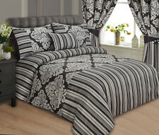 LUXURY DUVET COVER SET PILLOWCASES CUSHION COV- BLACK & SILVER SIZE DOUBLE -ONYX