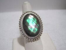 Honora Mother-of-Pearl Oval Faceted Doublet Sterling Ring Size 5  Black