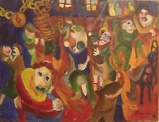 "Vintage Painting Signed Brandos '62 ""Village Festival"" Folk Outsider Oil Canvas"