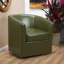 Contemporary Tea Green Leather Swivel Club Chair