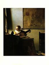 """1981 Vintage VERMEER """"WOMAN WITH A LUTE"""" GORGEOUS COLOR offset Lithograph"""