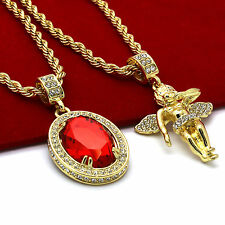 "Men 14k Gold Plated High Fashion 2 pcs set Ruby & Angel 4mm 30"" & 24"" Rope chain"