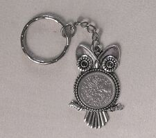 1956 60th birthday lucky Sixpence Owl Bird keyring Charm wedding + present box
